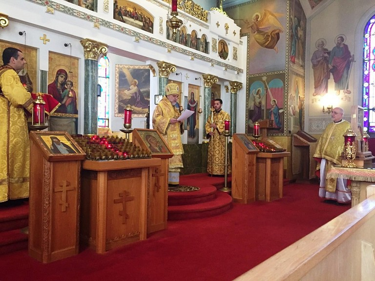 His Eminence making the presentation at the end of the Divine Liturgy